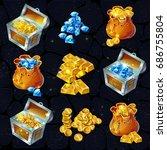 isometric treasure elements set   Shutterstock .eps vector #686755804