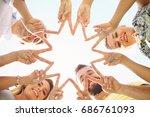 friends group having fun... | Shutterstock . vector #686761093