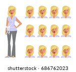 set of woman expression.... | Shutterstock .eps vector #686762023