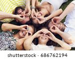 friends group having fun... | Shutterstock . vector #686762194