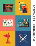 vector flat square icons on... | Shutterstock .eps vector #686763808