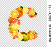 citrus fruits   lemons  oranges ... | Shutterstock .eps vector #686764498