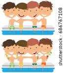 cute boys sit at the edge of... | Shutterstock .eps vector #686767108