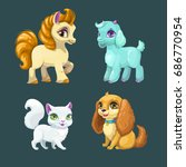 little cute pet girls. vector... | Shutterstock .eps vector #686770954