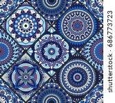 seamless pattern. vintage... | Shutterstock .eps vector #686773723