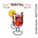 mulled wine. autumn drink.... | Shutterstock .eps vector #686775196