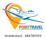 plane logo design. creative... | Shutterstock .eps vector #686785354