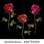 Embroidery Red Roses On Black...