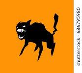 Black Cat Hissing  Orange...