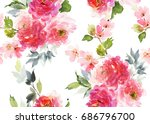 Stock photo seamless summer pattern with watercolor flowers handmade white background 686796700