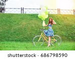 outdoor fashion portrait of... | Shutterstock . vector #686798590