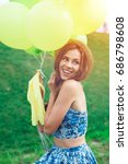 young happy woman with... | Shutterstock . vector #686798608