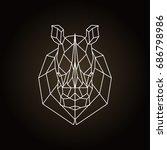 Rhinoceros Head Geometric Line...