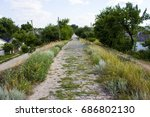 the old narrow stone road | Shutterstock . vector #686802130