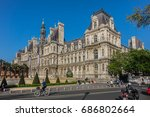 Small photo of PARIS, FRANCE - APRIL 8, 2017: Architectural fragments of a Hotel-de-Ville Neo-Renaissance building (City Hall). The City of Paris's administration has been located on the same location since 1357.