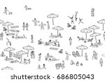 seamless banner of tiny people... | Shutterstock .eps vector #686805043