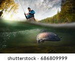 fishing. fisherman and trout ... | Shutterstock . vector #686809999