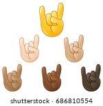 sign of the horns rock on hand... | Shutterstock .eps vector #686810554