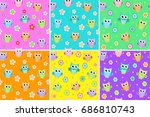 kids seamless pattern with owls.... | Shutterstock .eps vector #686810743