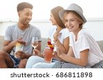 group of happy young people... | Shutterstock . vector #686811898