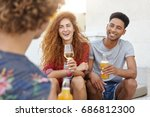 portrait of three friends... | Shutterstock . vector #686812300
