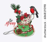 tea party invitation christmas...   Shutterstock .eps vector #686819398