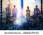 group of business partner... | Shutterstock . vector #686819620