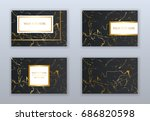 set of black and gold business... | Shutterstock .eps vector #686820598