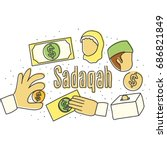 sadaqah  giving donation in... | Shutterstock .eps vector #686821849