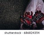 zombie woman death ghost in old ... | Shutterstock . vector #686824354