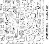 seamless pattern. hand drawn... | Shutterstock .eps vector #686825104