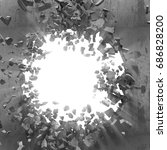 cracked big hole in broken...   Shutterstock . vector #686828200