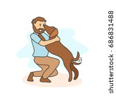 man and his pet illustration. ... | Shutterstock .eps vector #686831488