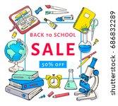 back to school sale flyer...   Shutterstock .eps vector #686832289