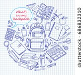 back to school poster with...   Shutterstock .eps vector #686832310