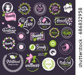 cosmetics and beauty labels and ... | Shutterstock .eps vector #686832958