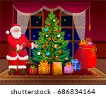 santa claus santa claus wishes... | Shutterstock .eps vector #686834164