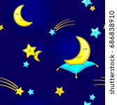 seamless pattern with night sky ... | Shutterstock .eps vector #686838910
