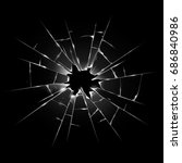 broken transparent glass.... | Shutterstock . vector #686840986