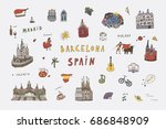 barcelona spain city doodle... | Shutterstock .eps vector #686848909