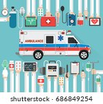 healthcare flat design with... | Shutterstock .eps vector #686849254