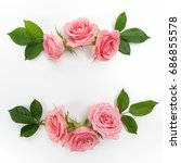 round frame made of pink roses  ... | Shutterstock . vector #686855578