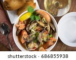 seafood stew with clams and... | Shutterstock . vector #686855938