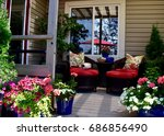 sheltered outdoor deck seating | Shutterstock . vector #686856490