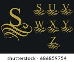 curly caligraphic font  ... | Shutterstock .eps vector #686859754
