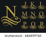 curly caligraphic font  ... | Shutterstock .eps vector #686859760