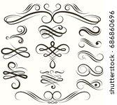 flourish swirls vintage... | Shutterstock .eps vector #686860696