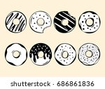 set of 8 hand drawn black and... | Shutterstock .eps vector #686861836