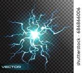 lightning flash light thunder...   Shutterstock .eps vector #686866006