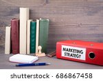marketing strategy. binder on... | Shutterstock . vector #686867458